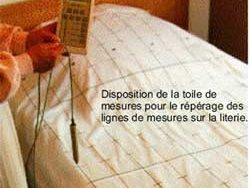 Le drap imprimé de mesure pour le lit avec repères bicolores et indication chiffrée des lignes