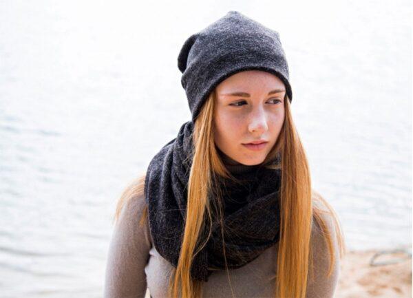 Beanie écran Eloi double épaisseur knit anthracite
